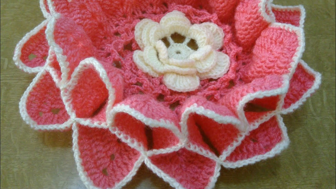 How To Crochet Lotus Flower Tablemat In Marathi