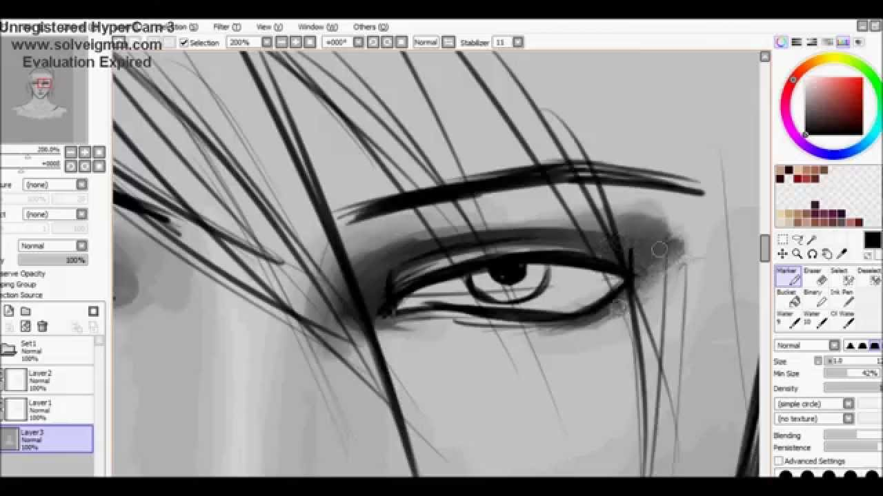 drawing semi realistic anime boy  speedpaint in sai