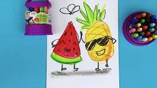 Арбуз + Ананас = Витамины! рисуем веселые фрукты