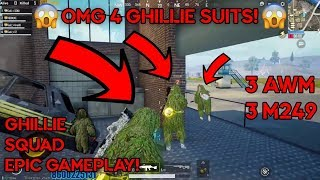 [Hindi] PUBG MOBILE | 4 GHILLIE SUIT + 3 AWM + 3 M249 | AIRDROP HUNTING AND RUSH GAMEPLAY