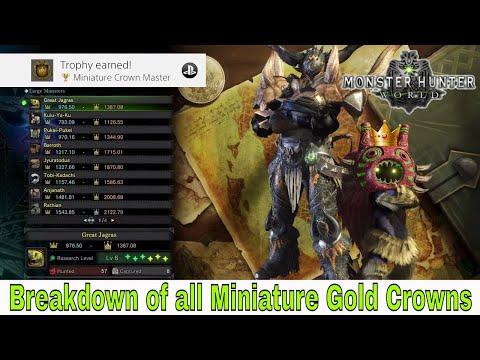 Monster Hunter: World - Miniature Crown Master (Breakdown of all Mini Gold Crown)