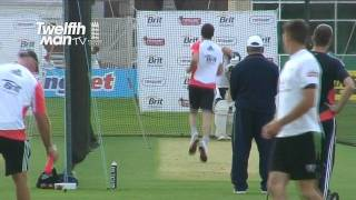 TwelfthMan In the Nets with the England Team - James Anderson and David Saker