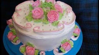 Бисквитный торт с КЛУБНИКОЙ и кремом из СЛИВОК рецепт торта Украшение тортов Торт с  цветами