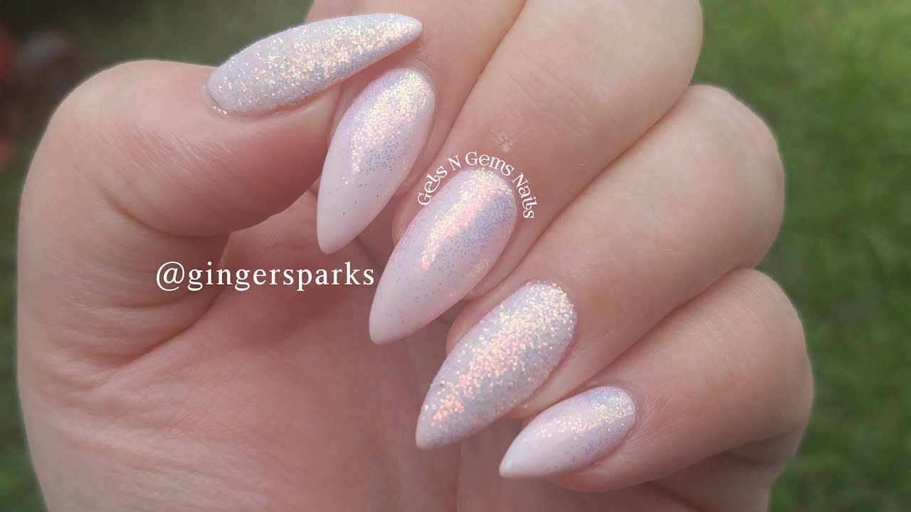 Nude Gel Polish With Glitter Fade Easy Nail Design Youtube