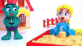 Truck toy 💕 Superhero Play Doh Stop motion cartoons
