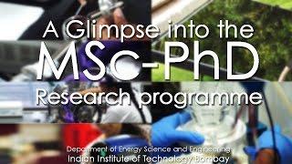 A Glimpse into the MSc PhD Research Program