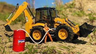 BRUDER tractor excavator needs FUEL! Toy truck action video for kids