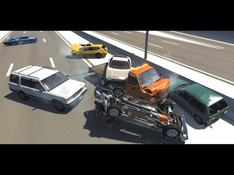 BeamNG Drive - Highway Pileups/Crashes #4 (6+ Car Pileups) •NSFG