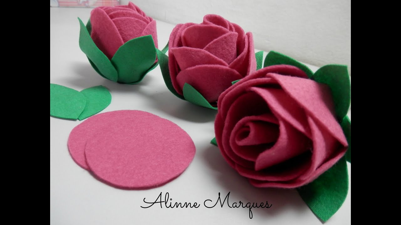 Adesivo De Parede Emoji ~ Rosa de feltro #5 Artesanato Passo a passo YouTube