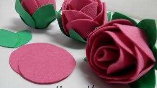 Rosa de feltro – Artesanato – Passo a passo