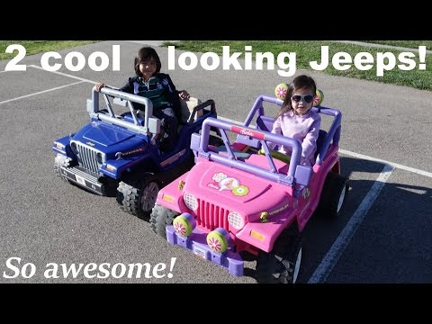 2 Cool Looking Jeep Wranglers! Fisher Price Ride-On Power Wheels :-)