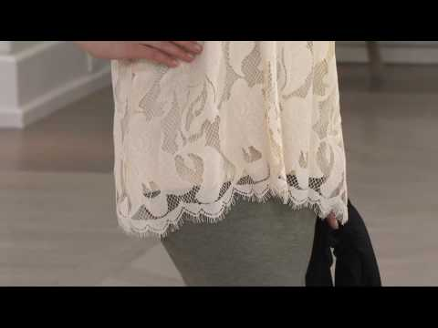 LOGO by Lori Goldstein Scalloped Lace Camisole with Solid Underlay on QVC