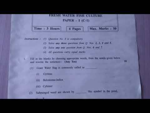12th FISHERY QUESTION PAPER -1