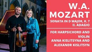W.A. Mozart - Sonata in D Major, K. 7 II. Adagio. For Harpsichord and the violin.
