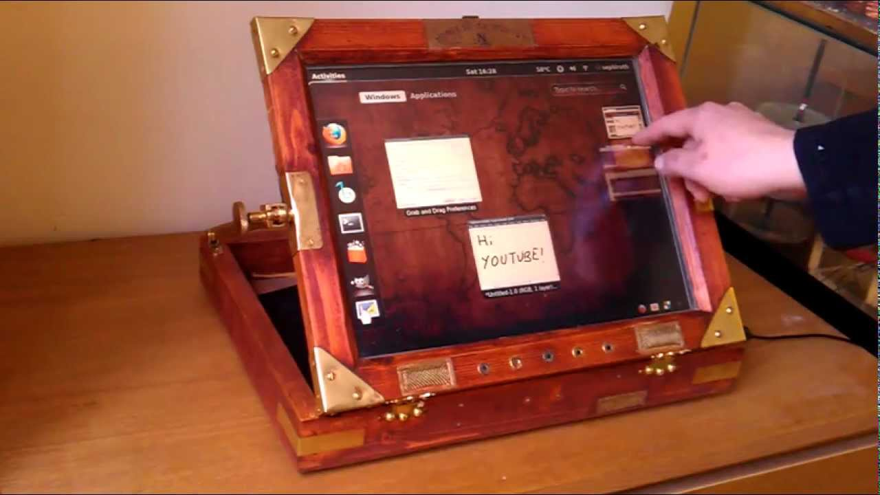 Home Made Portable Touchscreen Computer (Steampunk) - YouTube
