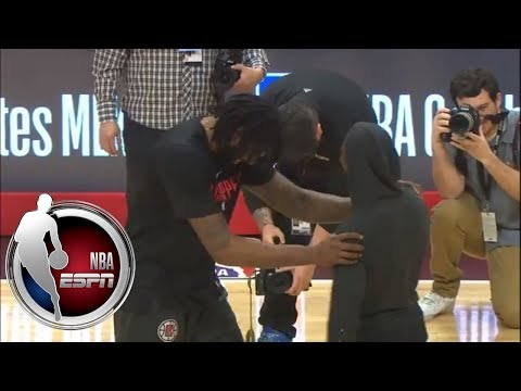 Chris Paul and DeAndre Jordan meet at half court before the Rockets play the Clippers | NBA on ESPN