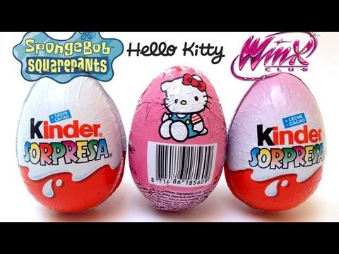winx club spongebob and hello kitty kinder surprise chocolate eggs unwrapping youtube. Black Bedroom Furniture Sets. Home Design Ideas