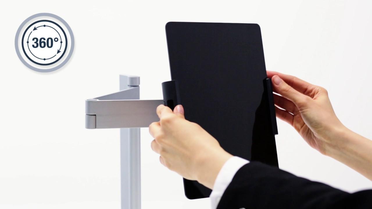 support tablette de table avec bras articul compatible 7 13 et antivol durable youtube. Black Bedroom Furniture Sets. Home Design Ideas