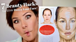 7 Beauty Hacks To Make Your Face Look Slimmer! | Dominique Sachse