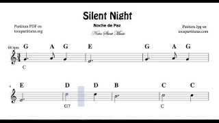 Silent Night Easy Notes Sheet Music for Flute Violin Recorder Oboe    beginners of treble clef Carol