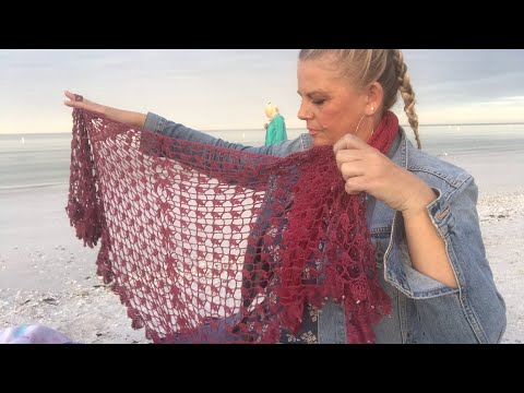 Yarn on the Beach 042 How to style knit or crochet triangular lace shawls as keyhole scarves