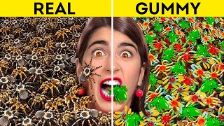 GUMMY VS REAL FOOD    Color Challenge! Best Food Life Hacks Ever! Mukbang by 123 Go! GENIUS