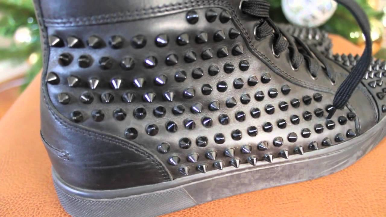 men red bottom shoes - All Black Louboutin Spiked Sneakers - YouTube