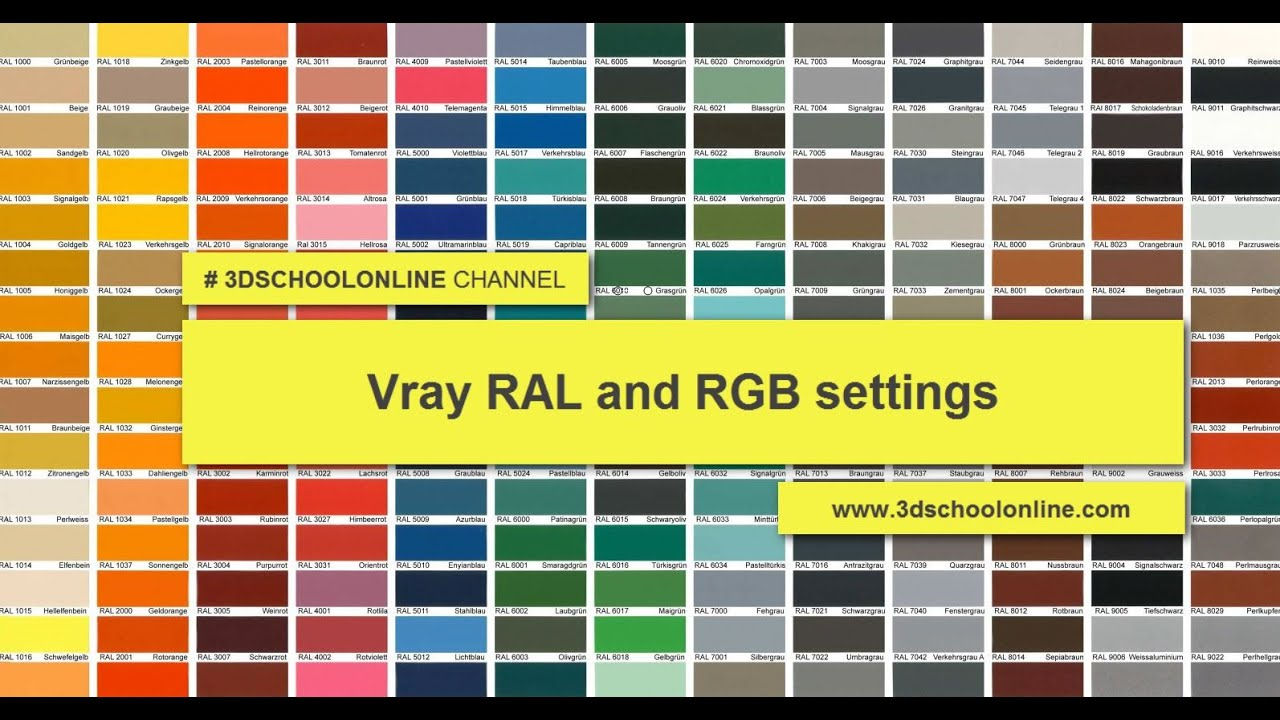Ral Cmyk Vray Ral And Rgb Settings