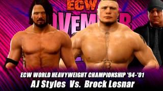 WWE 2K17: AJ Styles vs Brock Lesnar ECW Championship
