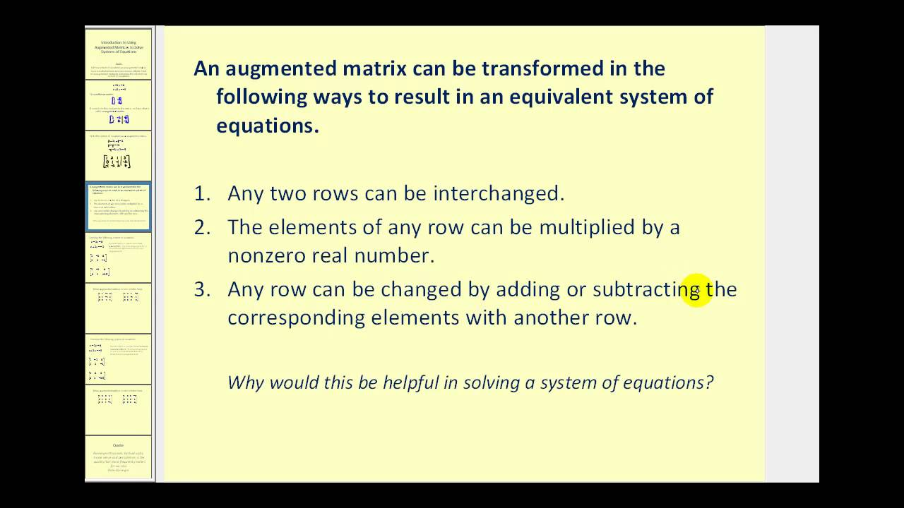 Introduction to Augmented Matrices - YouTube