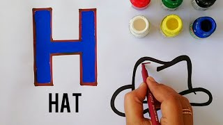 Alphabet H For Hat Drawing Page| How To Draw Hat  For Nursery Kids