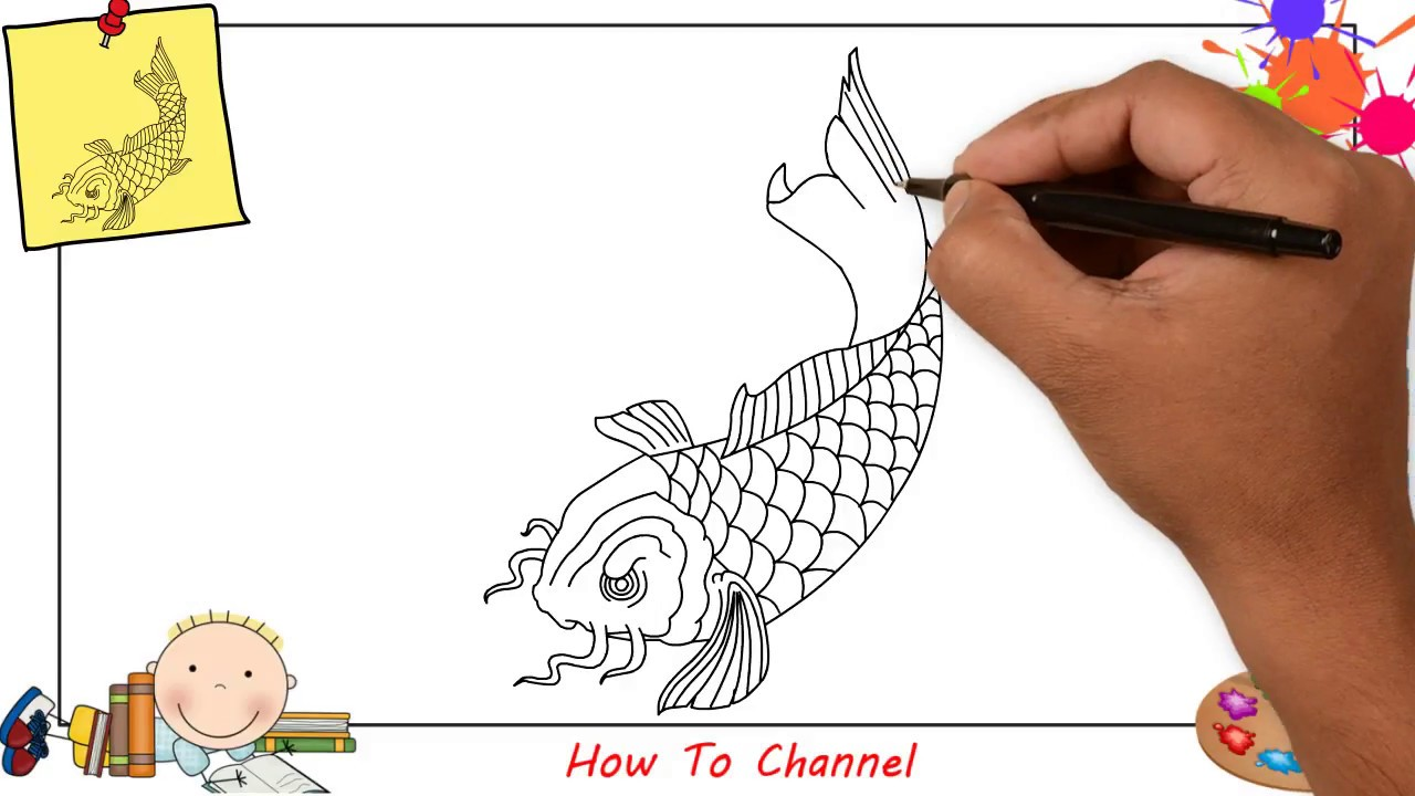 How To Draw A Carp Koi Fish Easy Step By Step For Kids Beginners