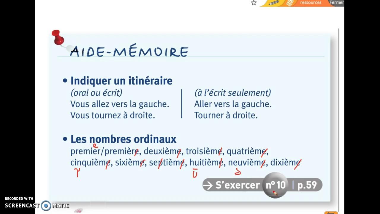 Très Aide-Mémoire : Les nombres ordinaux p 50 - YouTube ZF26