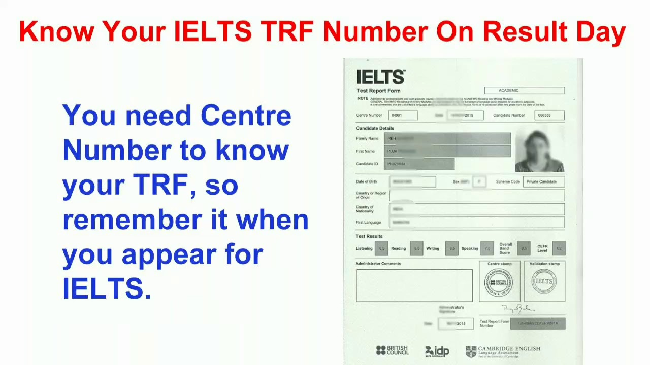 Know/Decode your IELTS TRF number on result day