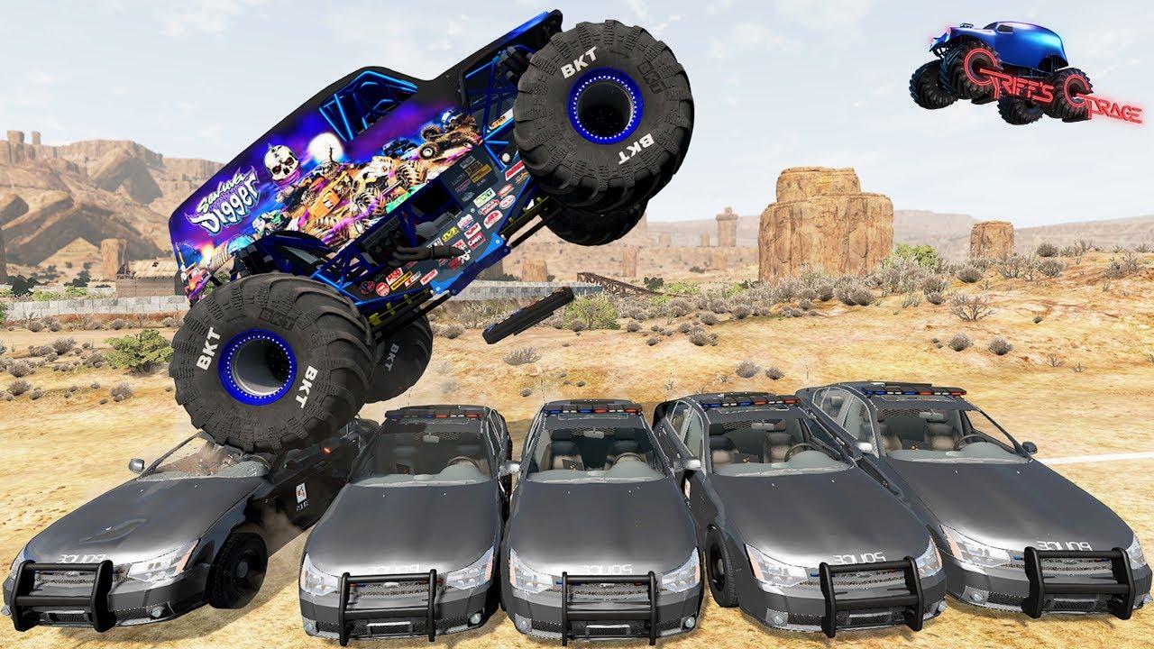 MONSTER TRUCK CRASHES #6 - Monster Jam Racing, Jumps, Fails | BeamNG Drive