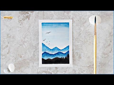 Watercolor Painting Landscape Mountains | Watercolor Art | Easy landscape tutorial (only 2 colors)
