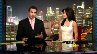 Sharon Tay 2011/08/03 10pm KCAL9 HD; Tight white dress