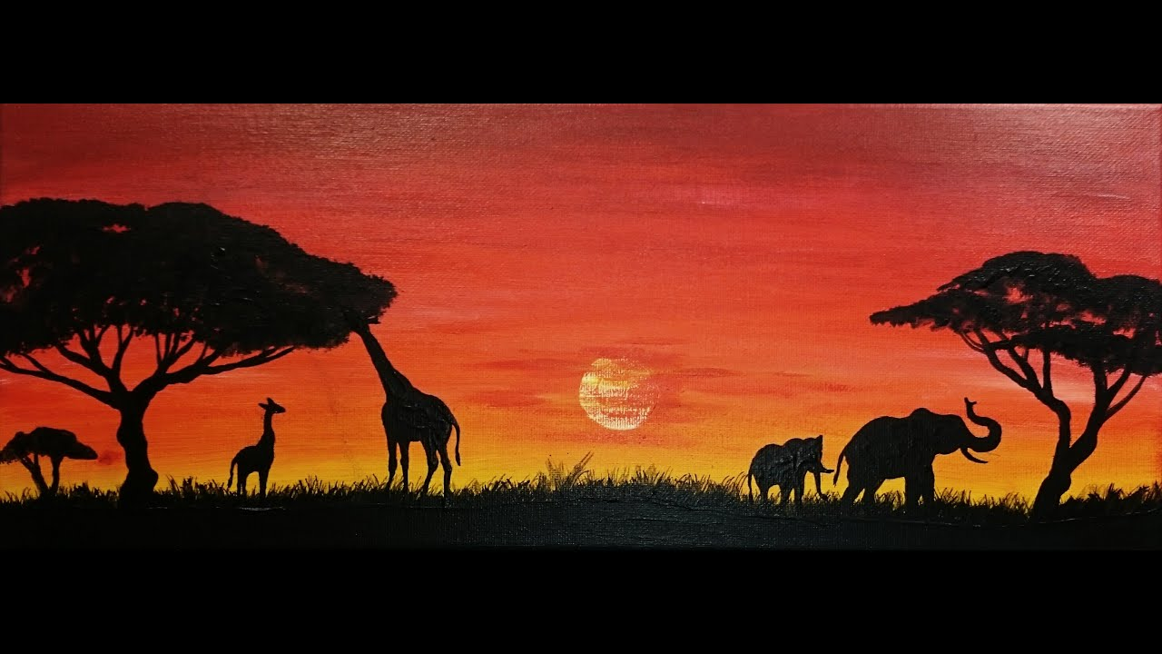 Savana painting -- African SPEED painting - YouTube for Silhouette Painting Of Animals  143gtk