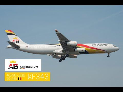 KF343 Air Belgium A340-300 landing at Brussels South Charleroi Airport