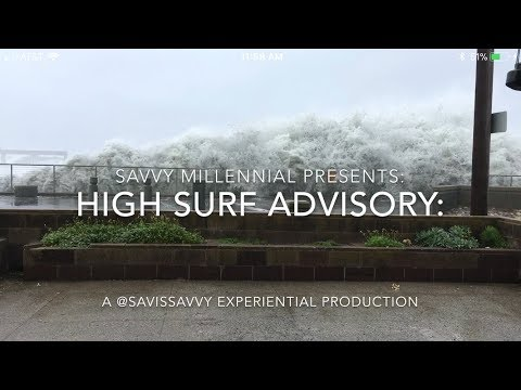 High Surf Warning In Pacifica, California: Big Waves At High Tide