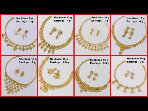 6a4f4f0df Simple And Light Weight Gold Necklace Designs With Weight And Matching  Earrings