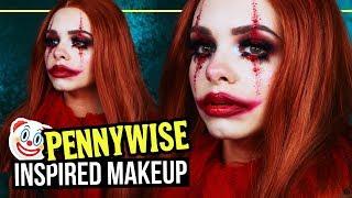 "PENNYWISE 🤡 ""ES"" Glam Clown Inspired Halloween Makeup Tutorial - #SpooktoberCountdown"