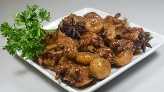 Garlic Braised Chicken Wings with Chestnuts :Authentic Cantonese  Chinese Cooking