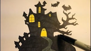 How To Draw A Haunted House|Easy|Step By Step|For Halloween