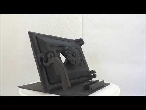 Дверца для печи со стеклом Fenix 102860к, чугунная печная дверка феникс, дверь в печь, грубу