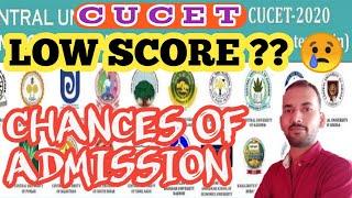 CUCET | LOW SCORE | CHANCES OF ADMISSION | CUTOFF