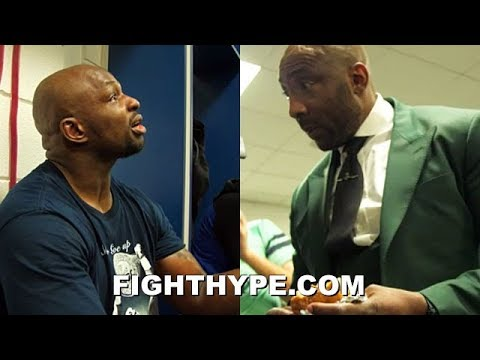 DILLIAN WHYTE CONGRATULATED BY JOHNNY NELSON IN LOCKER ROOM AFTER CHISORA KNOCKOUT