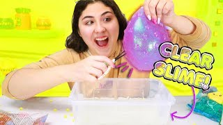 CUTTING GIANT GLITTERY SQUISHY BALLS INTO CLEAR SLIME Slimeatory #511