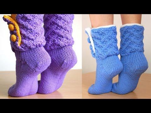 Как вязать носки спицами с пяткой и без Видео и фото МК
