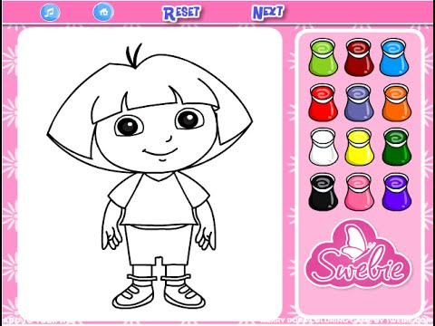 Dora The Explorer Coloring Game Play - YouTube